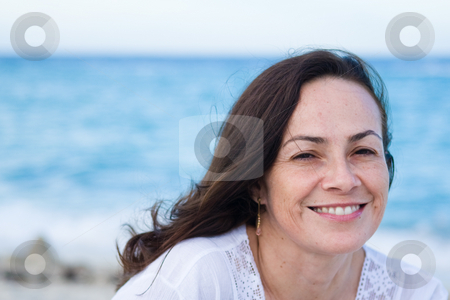 Beautiful woman at the beach stock photo,  by Jose Wilson Araujo