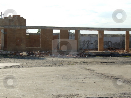 Demolished Store stock photo, The remains of a store demolished by a tornado after Hurricane Ike by Marburg