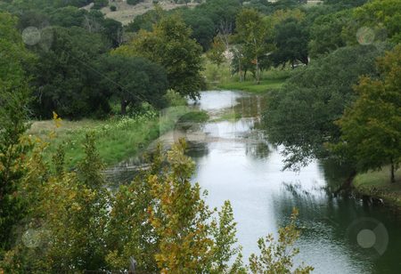 River Valley stock photo, Lazy river winding through valley in the hill country by Marburg