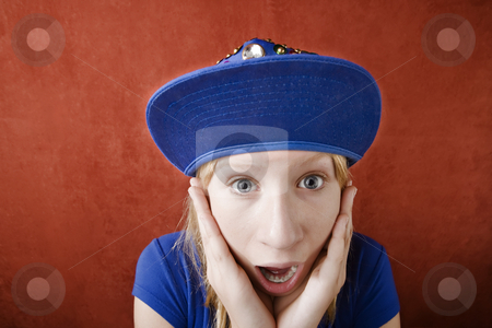 Shocked young girl  stock photo, Close up portrait of shocked teenage girl by Scott Griessel
