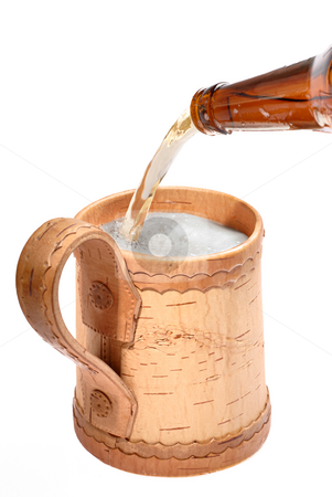 Mug with frothing beer stock photo, Wooden mugs for beer on white background by Vadim Maier