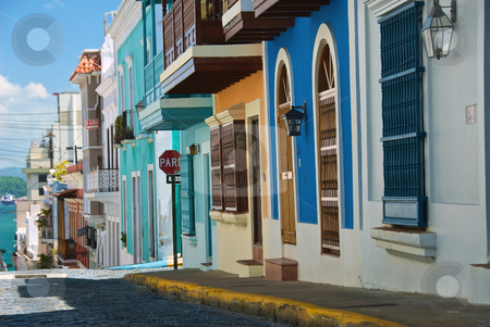 Peurto Rico street scene stock photo, A row of Peurto Rico houses in bright color, from right moving out to left by Stefan Edwards