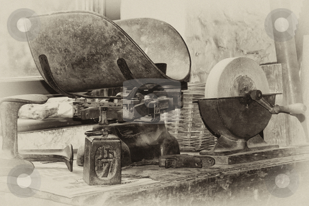 Old tools for flour making stock photo, Black and white image of historic millers tools by Stefan Edwards