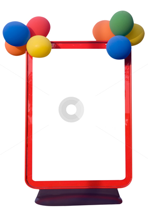 Display stock photo, Street sign holder in red with balloons attached, isolated on white with space for your message by Paul Phillips