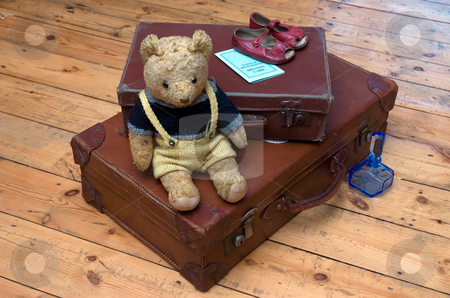 Travel in the 1940s stock photo, Suitcases, a Teddy Bear and travel accessories from the 1940s by Paul Phillips