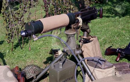 Heavy machine gun stock photo, Water cooled machine gun in a mock battle situtation by Paul Phillips