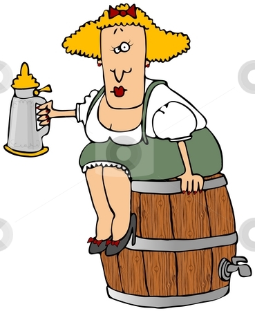 Beer Barrel Woman stock photo, This illustration depicts a Bavarian woman sitting on a beer keg and holding a stein. by Dennis Cox