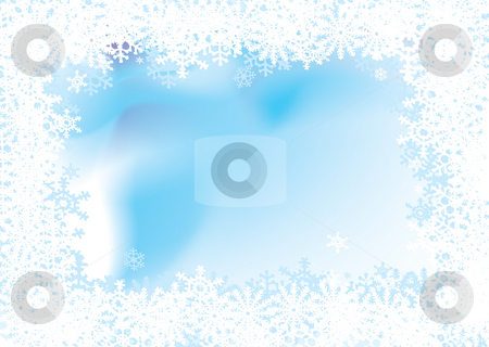 Snowflake background stock photo, Christmas background with a snow flake border with room for copy by Michael Travers