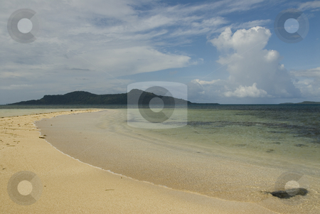 White Sand Beach stock photo, Calm Truk Lagoon waters with islands in the distance and sky. by A Cotton Photo