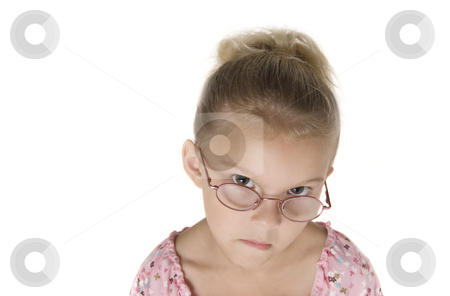 Mad Girl stock photo, Young blonde girl mad because mom hasn't bought your product yet.  Isolated on White. by A Cotton Photo