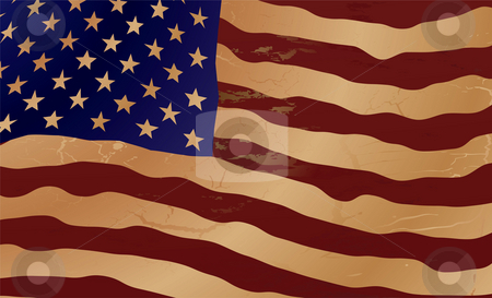 Old us ripple flag stock photo, Close up of the american flag in aged shades of brown by Michael Travers