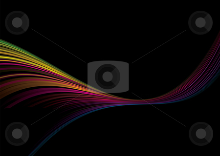 Rainbow glide stock vector clipart, Colorful abstract illustrated rainbow background with copy space by Michael Travers