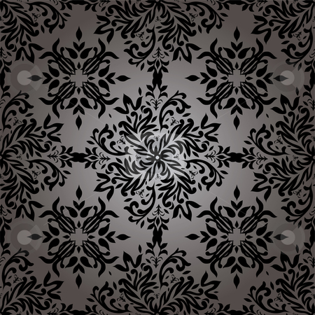 Abstract floral repeat stock vector clipart, Illustrated wallpaper design in with a floral theme in black by Michael Travers
