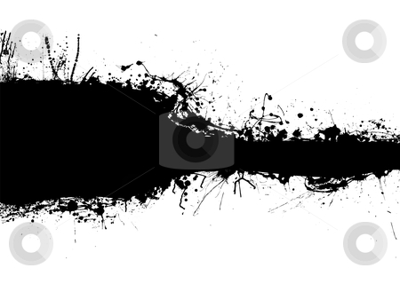 Black band blank stock vector clipart, Black and white inky banner with room for copy by Michael Travers