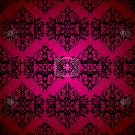 Black gothic floral stock vector clipart, Red and black gothic seamless repeating background illustration by Michael Travers