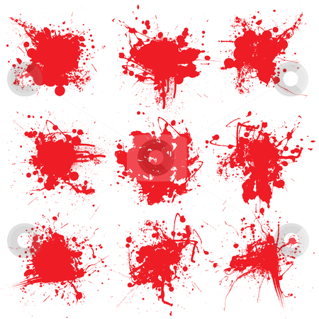 Blood splat collect stock vector clipart, Collection of nine blood splats on a white background by Michael Travers