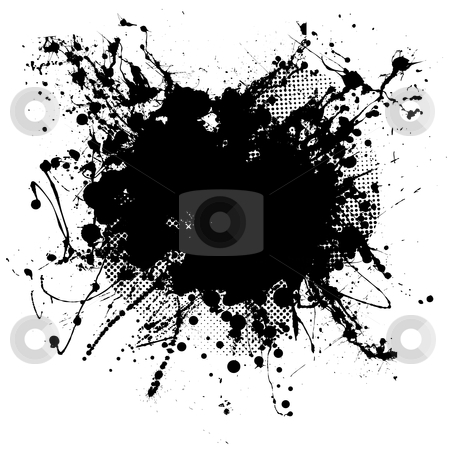 Black blob stock vector clipart, Pen ink and half tone black blob with copy space by Michael Travers