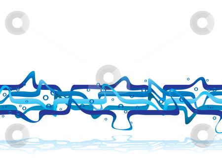 Blue muddle stock vector clipart, Abstract illustrated background with flowing blue lines and shadow by Michael Travers