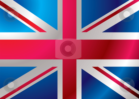 Britain flag ripple stock vector clipart, British flag blowing in the wind ideal background by Michael Travers