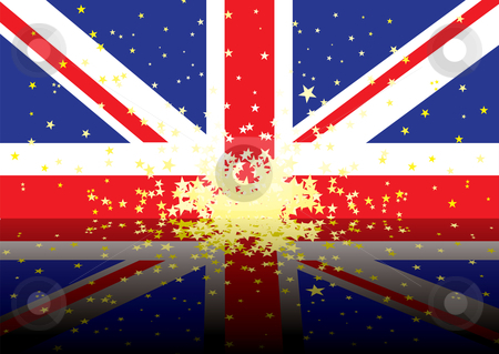British flag reflect stock vector clipart, Reflected version of the british national flag with stars by Michael Travers