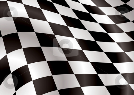 Checkered flag bellow stock vector clipart, Checkered flag bellowing in the wind ideal background image by Michael Travers