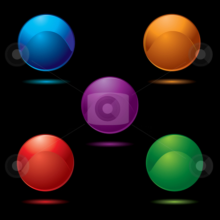 Button glow multi stock vector clipart, Collection of five buttons in bright vivid colours with shadow by Michael Travers