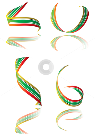 Candy roll stock vector clipart, Illustrated collection of bright colored ribbons with shadow by Michael Travers