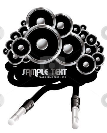 Cable space speaker stock vector clipart, Retro style speaker stack with electrical cable in black by Michael Travers