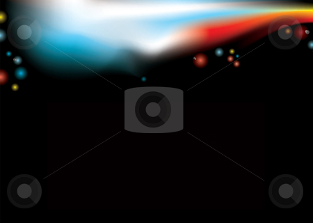 Concert light stock vector clipart, Black abstract background with blurred concert lights and copy space by Michael Travers