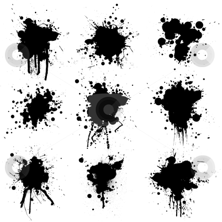 Collection ink splat stock vector clipart, Illustrated ink bloat collection in black and white by Michael Travers