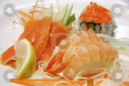 Assorted sushi stock photo, Assorted sashimi and sushi salmon and ebi prawn maki by Kheng Guan Toh