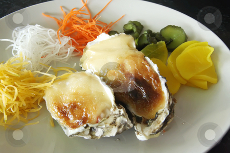 Baked oysters stock photo, Baked oysters with cheese sauce au gratin by Kheng Guan Toh