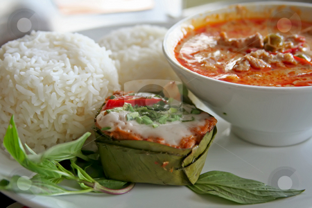 Thai curry stock photo, Thai dish of spicy curry steamed fish pudding and rice traditional cuisine by Kheng Guan Toh