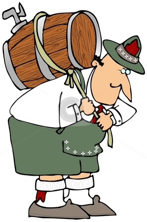 Man Carrying Beer Keg stock photo, This illustration depicts a man in Bavarian Clothing carrying a beer keg on his back. by Dennis Cox