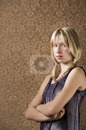 Young blonde girl stock photo, Blonde teenager in a sparkly party dress by Scott Griessel
