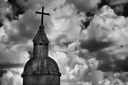 Religious Monument stock photo, Black and white religious monument against a cloudy sky by Scott Griessel