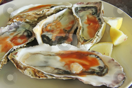 Fresh raw oysters stock photo, Raw fresh oysters in half shell with spicy sauce by Kheng Guan Toh