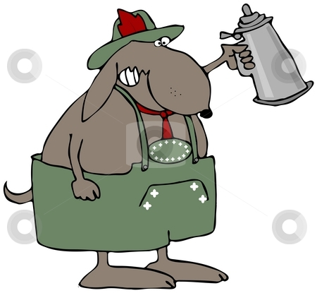 Oktoberfest Dog stock photo, This illustration depicts a dog dressed in traditional Bavarian clothing and holding a beer stein. by Dennis Cox