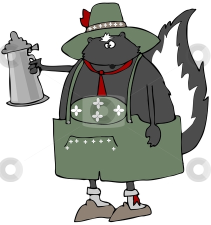 Oktoberfest Skunk stock photo, This illustration depicts a skunk dressed in traditional Bavarian clothing and holding a beer stein. by Dennis Cox