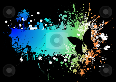 Butterfly rainbow subtle stock photo, Rainbow ink splat background with a butterfly and copyspace by Michael Travers