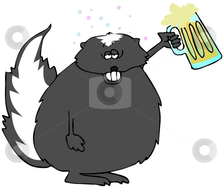 Drunk As A Skunk stock photo, This illustration depicts a drunk skunk holding up a mug of beer. by Dennis Cox