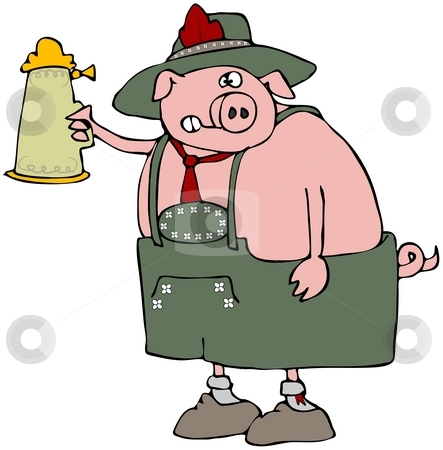 Oktoberfest Pig stock photo, This illustration depicts a pig dressed in traditional Bavarian attire. by Dennis Cox