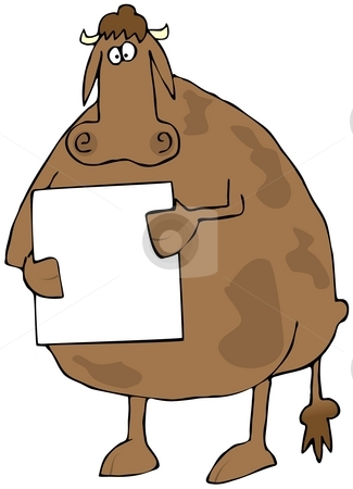 Cow Holding A Sign stock photo, This illustration depicts a cow holding a blank, white sign. by Dennis Cox