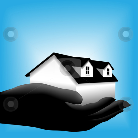 Home symbol held in a cupped hand on radiant background stock vector clipart, A symbol house home is in a sihouette cupped hand against a glowing blue background. by Michael Brown