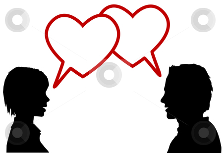Silhouette couple talk love in heart speech bubbles stock vector clipart, A couple of lovers talk love in heart speech bubbles at valentines or any time. by Michael Brown