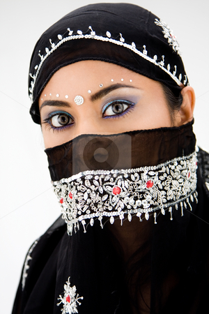 Gypsy woman stock photo, Beautiful gypsy woman with black head scarf, isolated by Paul Hakimata