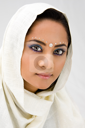 Woman with scarf stock photo, Beautiful woman with white head scarf, isolated by Paul Hakimata