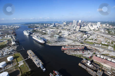 Tampa Bay Area. stock photo, Aerial view of Tampa Bay Area, Florida with waterway and ships. by Iofoto Images