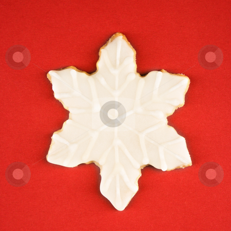 Snowflake cookie. stock photo, Snowflake sugar cookie with decorative icing. by Iofoto Images