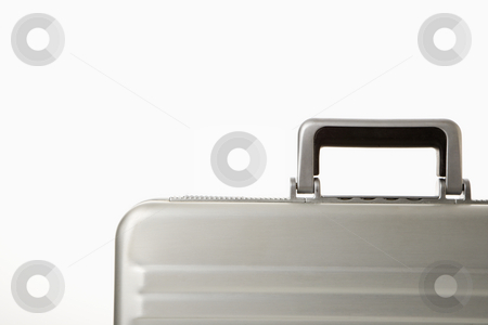 Briefcase. stock photo, Detail of handle on silver briefcase. by Iofoto Images